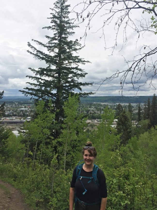 The view from the Cutbanks Trail in McMillan Creek Regional Park, Prince George, BC. 2019.