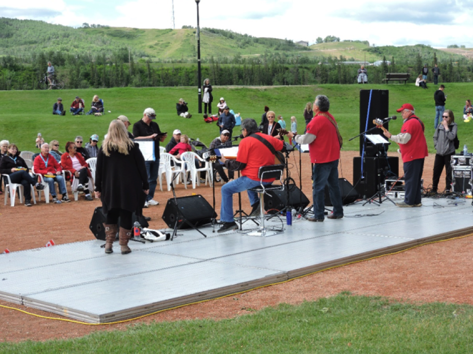 A local band plays at the Canada Day celebrations
