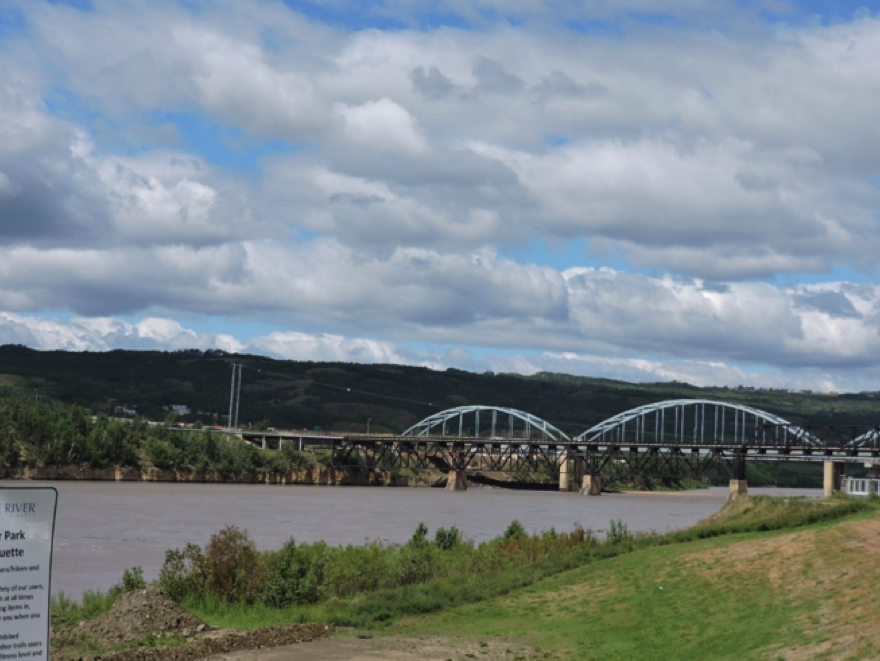 view of bridge and lake