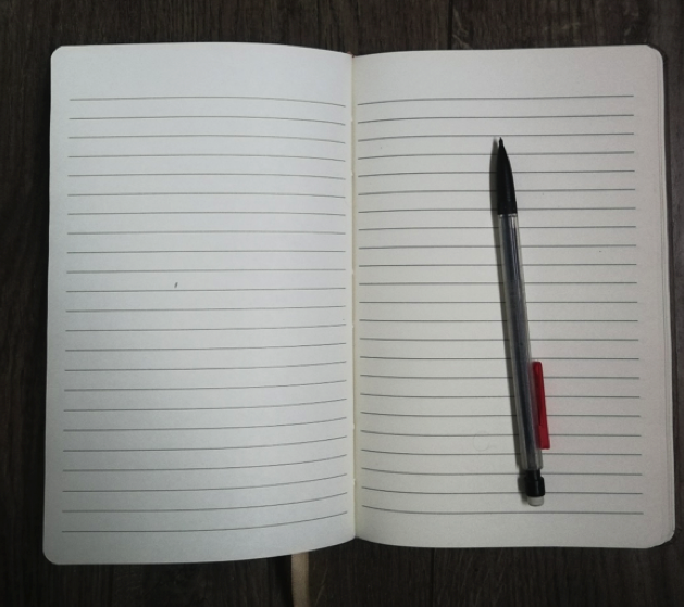 blank open journal with pencil on it