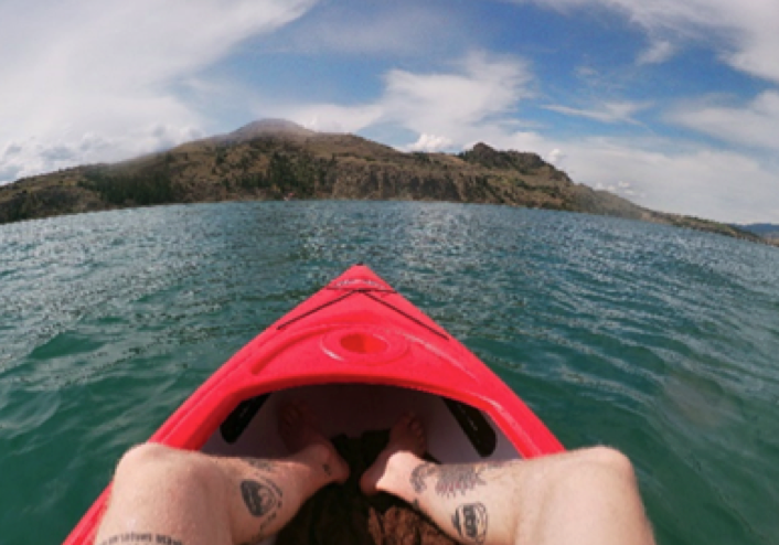 first person view of man sitting in kayak