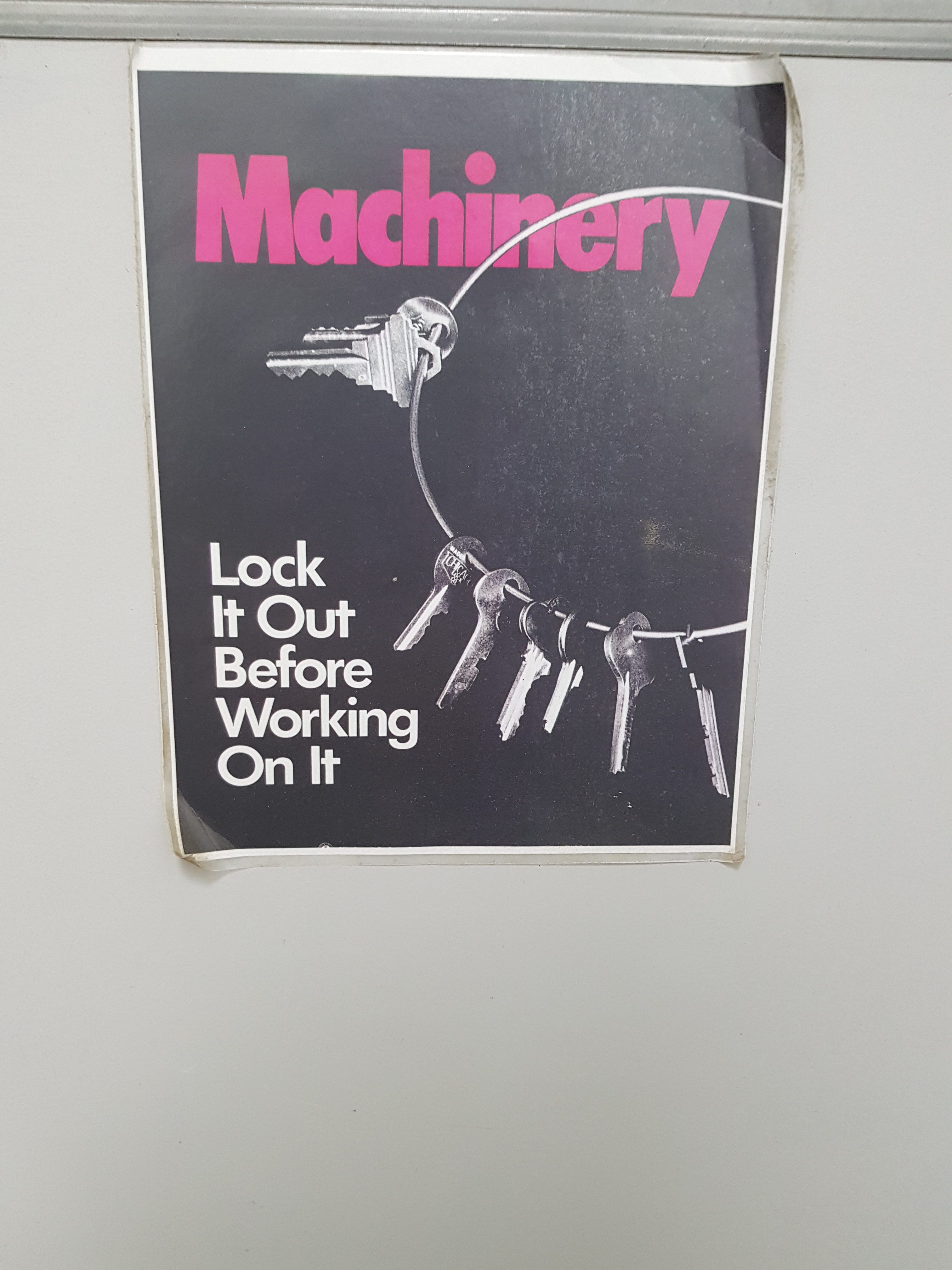 poster about locking machinery