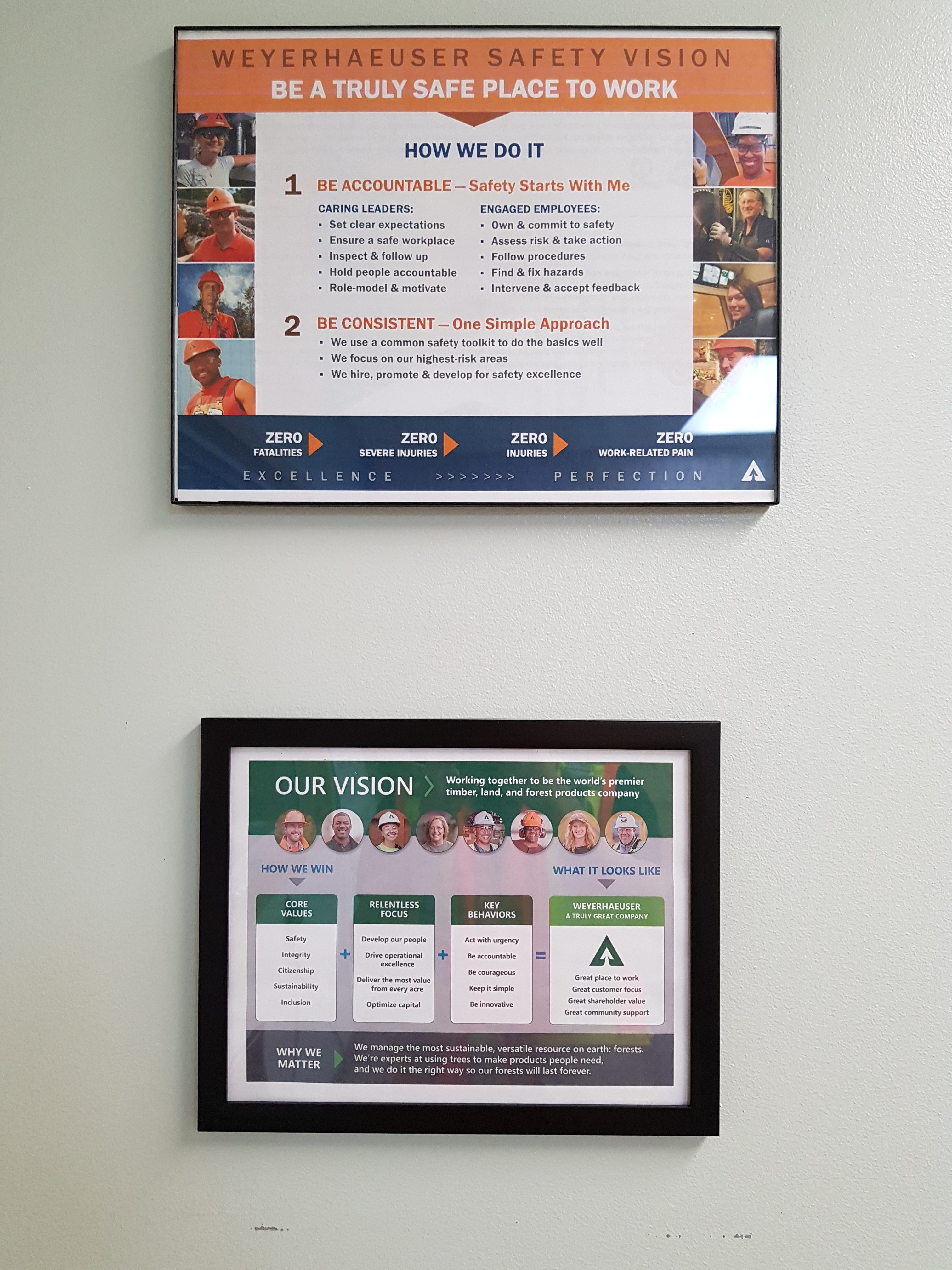 plaques about weyerhaeuser safety vision