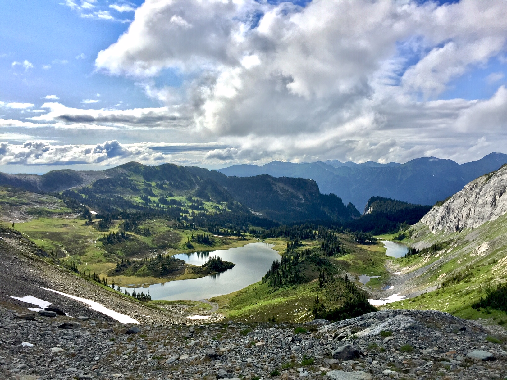 The alpine lakes and meadow from the ridgeline of Fang Mountain.