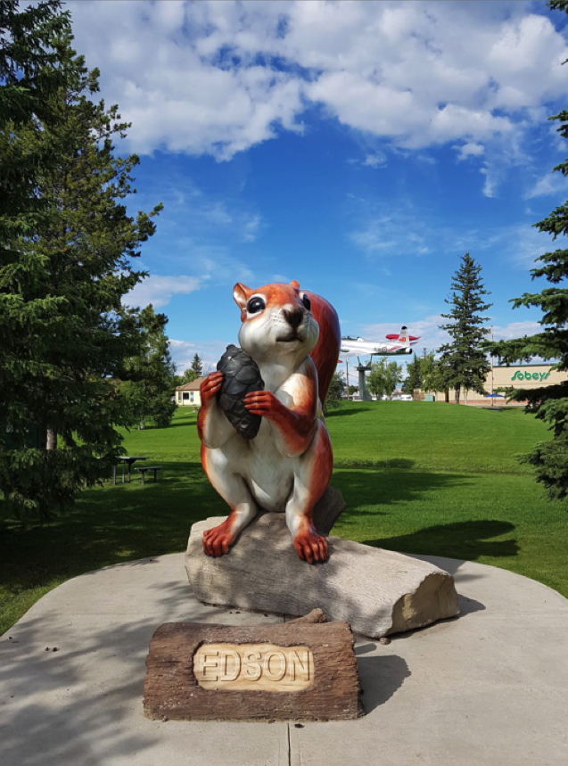 statue of eddie the squrriel, mascot of Edson, Alberta