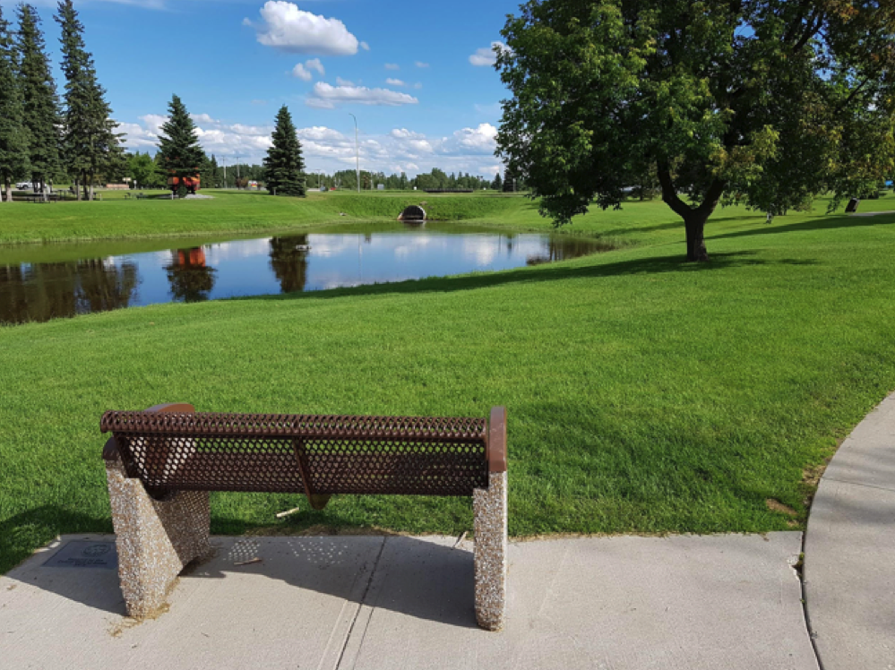 bench overlooking view of field and lake