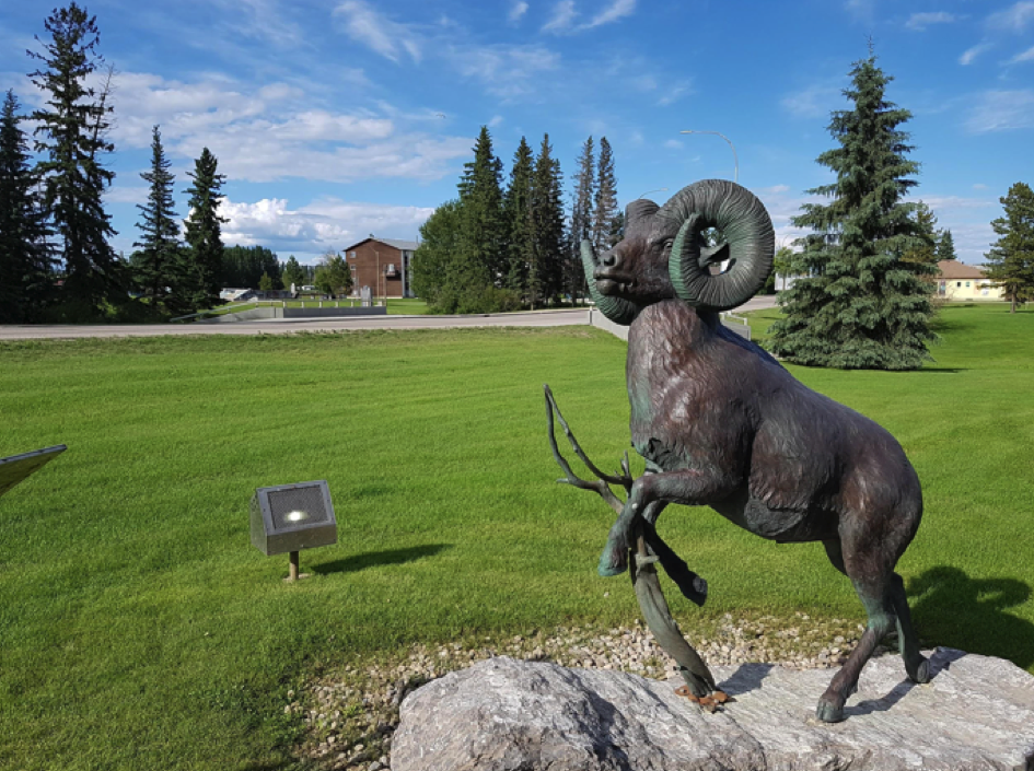 statue of sheep with curled antlers