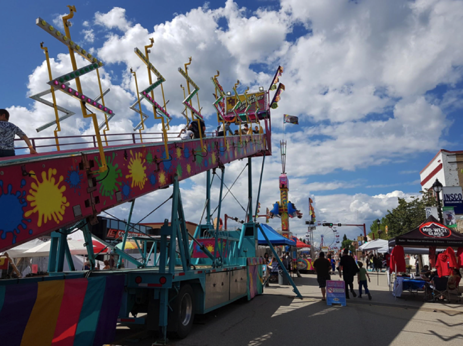 view of rides at a fair