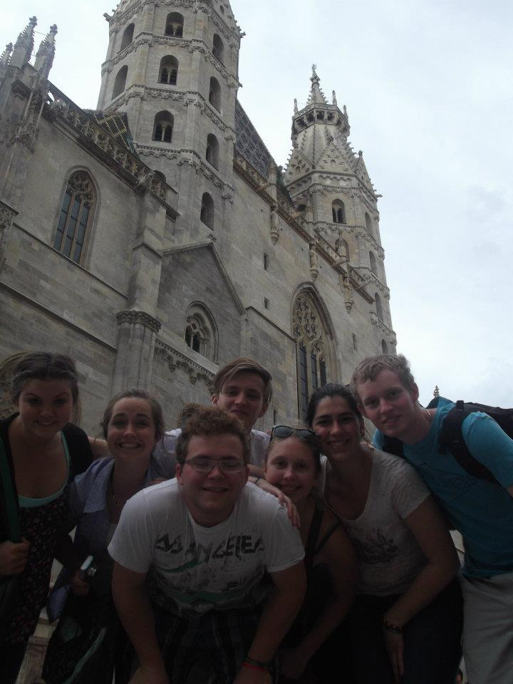 group of friends posing in vienna