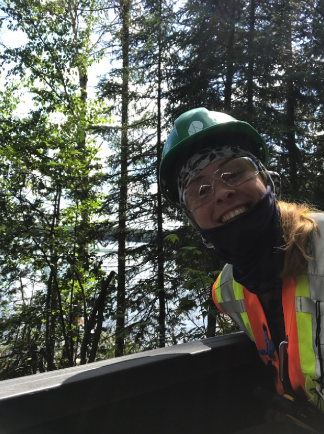 girl working in forest