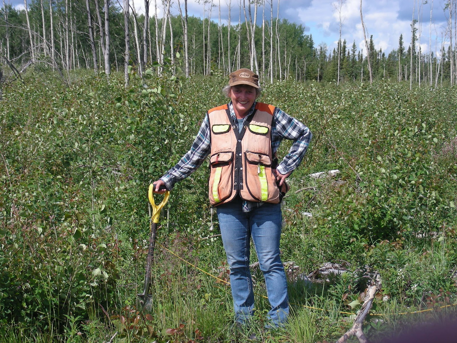Peggy doing here cut block check on tree planting.