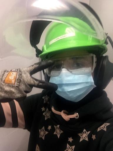 Figure 1: Lina Sbai in her PPE