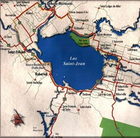 Carte détaillée de la région du Lac- Saint-Jean.
