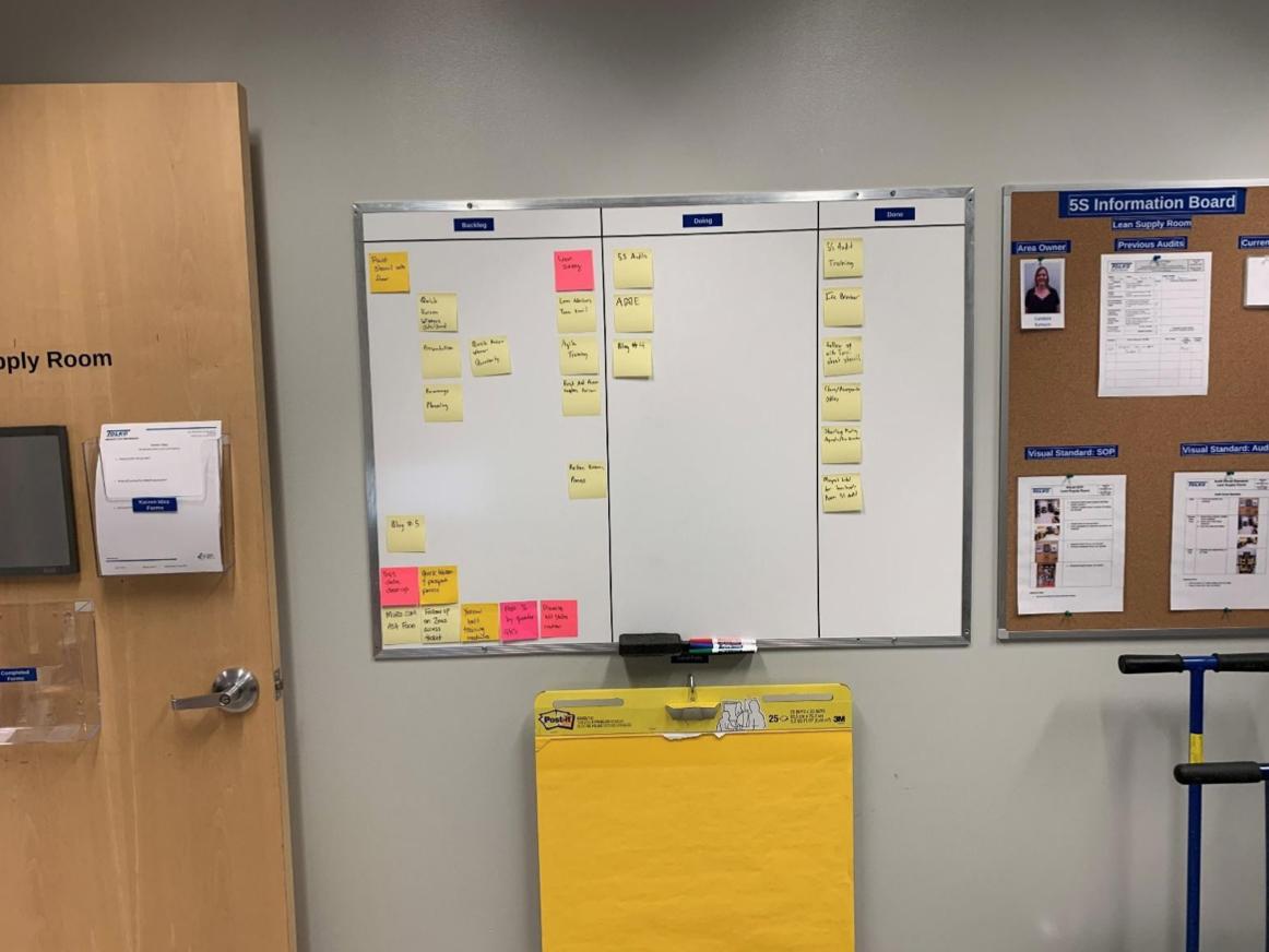 A bulletin board, inside an office.