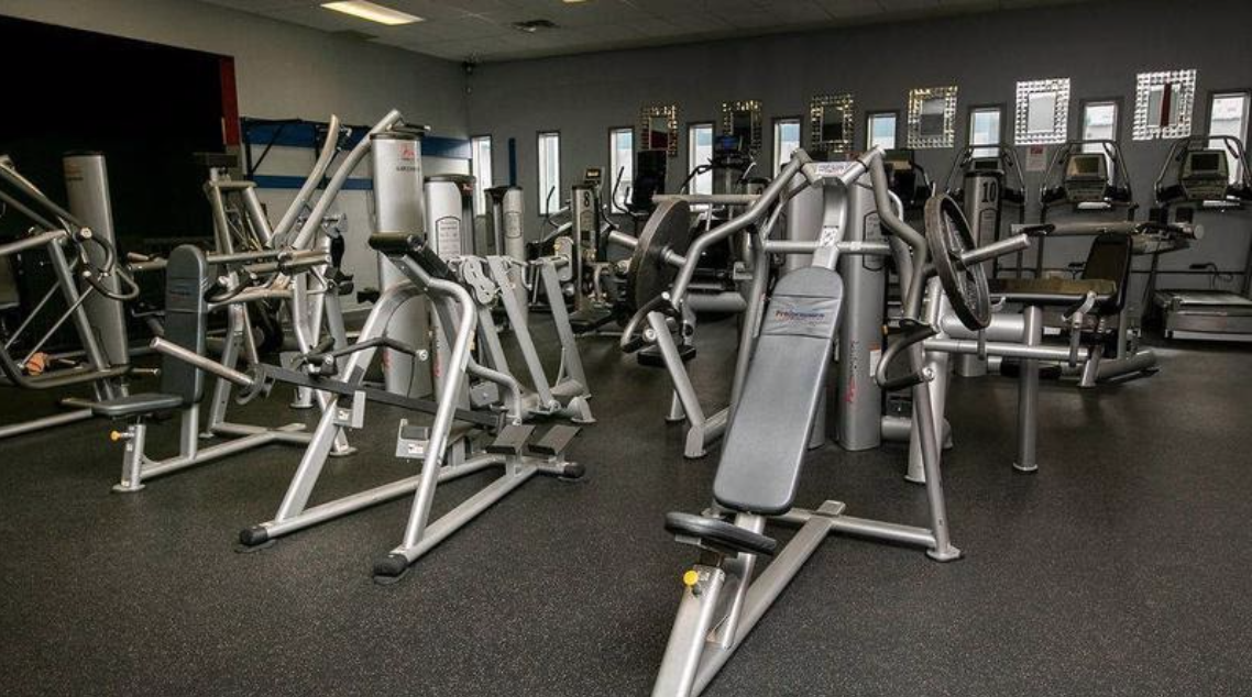Fitness equipment in a gym.