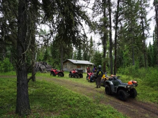 Several quads lighted up outside of a cabin in the woods.